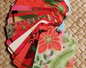 Upcycled Holiday Gift Tags - Poinsettias and Christmas Flowers