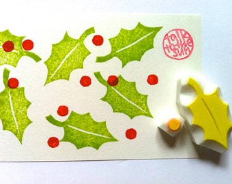 holly leaf stamp. christmas leaf hand carved rubber stamp. christmas decoration stamp. scrapbooking. gift wrapping. holiday crafts. set of 2