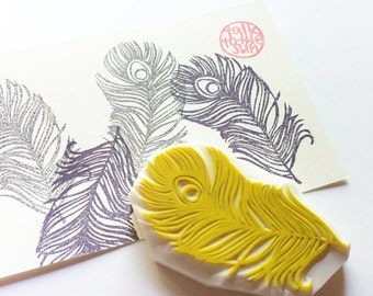 peacock feather stamp. feather hand carved rubber stamp. bird stamp. bridal stamp. diy birthday wedding. holiday card making. gift wrapping