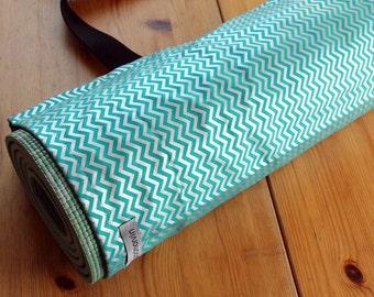 Yoga Mat Bag, Pilates Mat Bag, Teal Yoga Bag, Teal and Silver Chevron Stripes