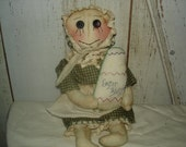 Laura's Praire Easter Doll with Egg, Primitive, Rustic, Summer, Easter, Doll, Stitched Egg, OFG, FAAP, HAFAIR
