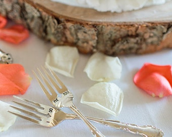 I Do Me Too Vintage Wedding Fork Set Hand Stamped with Date