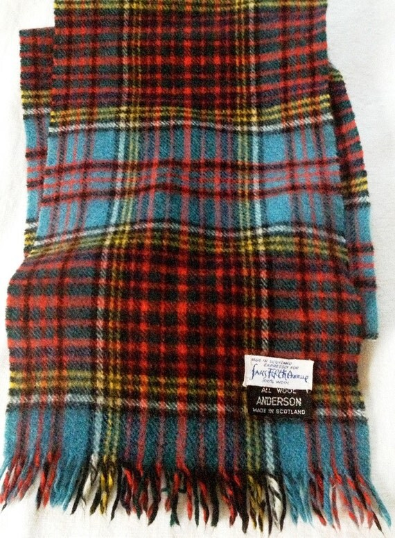 vintage wool plaid scarf 1960 s made in scotland for