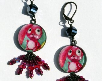 Crazy Red Bunny Earrings by Ilona Cutts