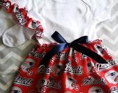 New England Patriots  Baby Girls Boutique Dress Onesie