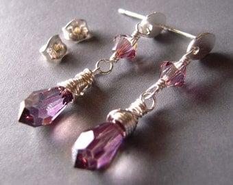 Purple Crystal Earrings, Swarovski Crystal Earrings, Sterling Silver Posts, Wire Wrapped