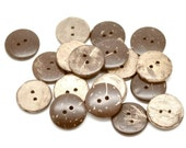 10 Brown Coconut Shell Buttons 20mm - Natural and Eco Friendly  (BC603B)