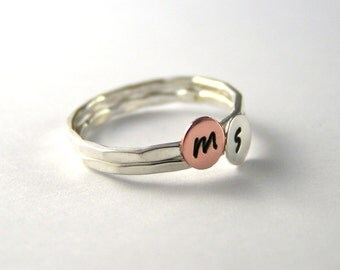 Custom Initial Rings, Initial Rings, Copper Initial Ring, Silver Initial Ring, Stack Rings, Set Of Two