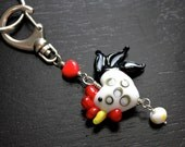 I Heart Chickens keychain - large lampwork glass chicken, egg, and heart beads on silver tone keyring and lobster clasp - free shipping USA