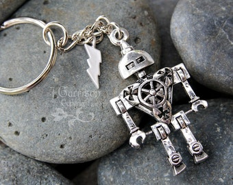 Robot Power keychain - 3D antiqued silver tone metal robot, silver plated lightning bolt -  Sci Fi keyring - Free Shipping USA
