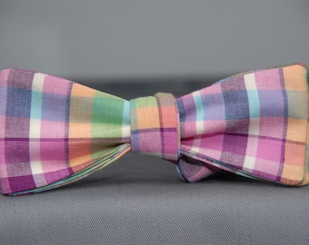 Summer Southern Sippin' Homespun Plaid  Bow Tie