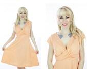 70s Wrap Dress Vintage Pretty Peach 1970s Retro Secretary Circle Skirt Indie Small S Medium M