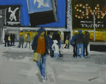 """NYC Times Square Painting . """"Smashed in Times Square"""" . 16x20 in."""