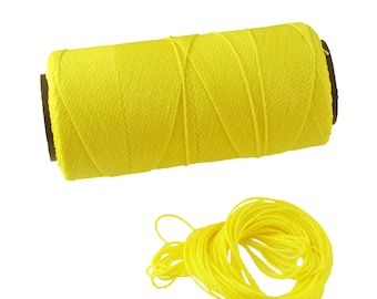 Neon Yellow: Waxed Polyester Cord, ~1mm Macrame Cord, pack of 25ft (8.33 yards) / Hilo Encerado, Linha Encerada, Waxed Polyester Thread