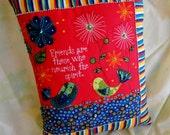 Green and Blue Birds Friends Beaded Art Pillow