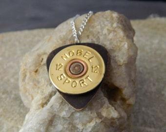 I Pick Hunting 12 Gauge Bullet Guitar Pick Necklace