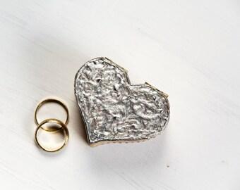 Silver Wedding Ring Bearer Box, Grey Rustic Pillow Alternative