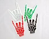 Skeleton Hand Devil Horns Roller Derby Helmet Vinyl Sticker / Vinyl Decal