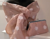 Silk Organza Wrap/Shawl/Shrug..Embroidered Floral/Pearls..Black Floral/Pink/Ivory/Gold Pull Thru Hands Free..Clutch to match..Bridal/Evening