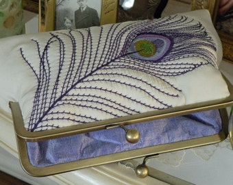 Peacock Feather Embroidered Silk Kimono Fabric Clutch/Purse/Bag..Bridal/Wedding Gift..Shades of Purple/Lavendar on Ivory