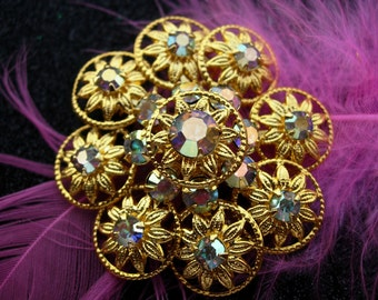 Vintage Pin or Brooch, Gold-tone and Aurora Borealis Flower