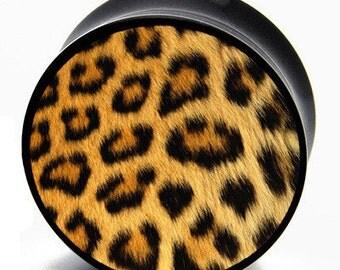 6g (4mm) Grunge Leopard Print BMA Power Plugs Single Flare Pair
