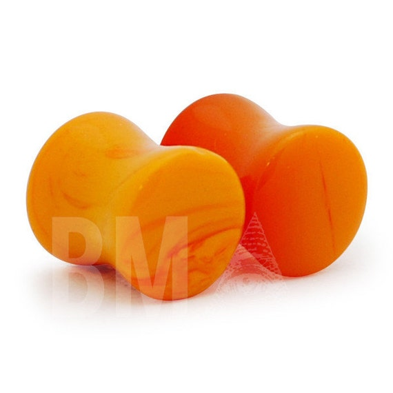 00g (9.5mm) Orange Swirl Glass Plugs 841 PAIR