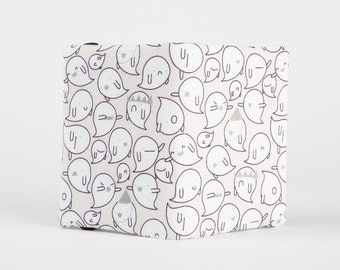 Fabric card holder - Party of boo / winter white cute ghosts / Violet purple chevron / Light grey neutral / October