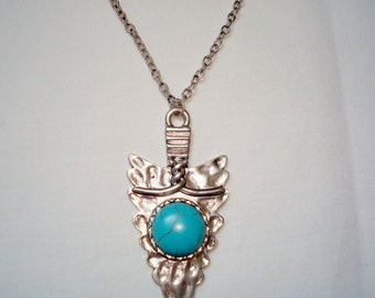 Silver Tone And Faux Turquoise Pendant Long Necklace