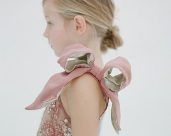 Rose Shoulder Bow and Beading Flower Girl Dress- The Katy (More Colors Available)