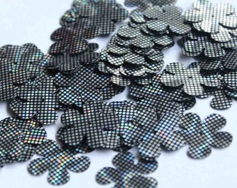 50 pcs Flower sequins/Black and Silver dotted texture/KBBF497
