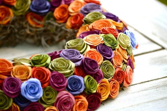 Multi-colored, orange, purple, green, gold, fall, autumn, paper flower wreath