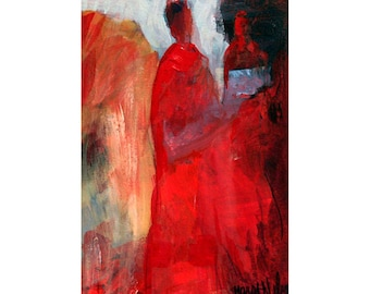 Abstract Figures, Contemporary Painting, Bright Red Colors, Two Figures, Abstract Acrylic Art, Modern Art Print, Contemporary Wall Art, 8 x6