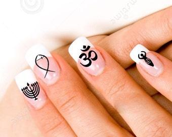 Jewish christian etsy 24 christian jewish hindu pagan religious symbol nail decals prinsesfo Choice Image