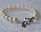 fatdog Bracelet - B1104 -  Bridesmaid Pearl Bracelet with Sterling Silver Heart Toggle Clasp