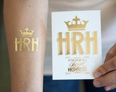 HRH - Her Royal Highness Gold Foil Tattoo and Greeting Card