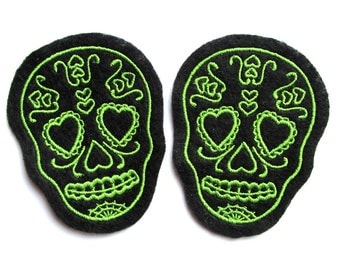 Sugar Skull patch Pair of Lime Green (more and custom colors available) by Dolly Cool