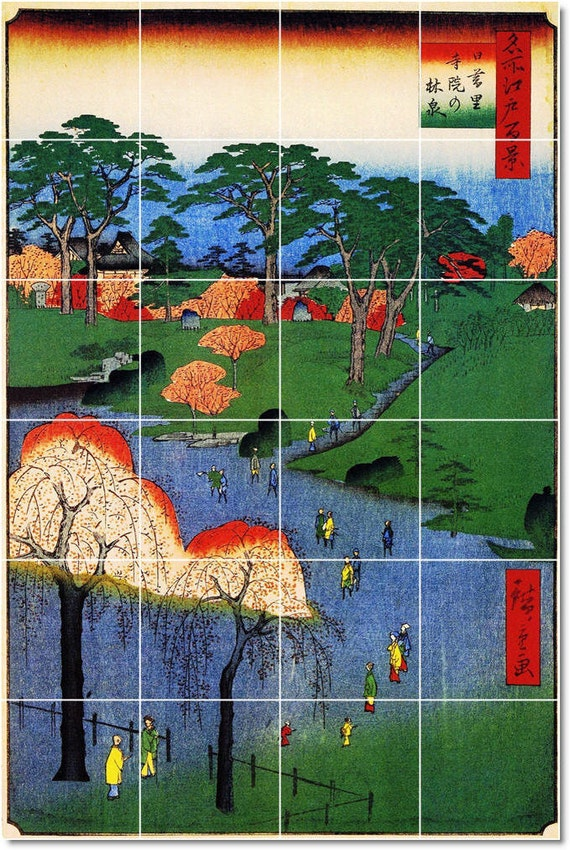 S m l xl custom ceramic japanese ukiyo e painting tile mural for Ceramic mural artists