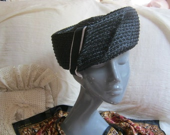 Vintage Black woven pillbox hat, twisted raffia look black large pillbox hat, angled  large pillbox hat with ribbon, black white hat