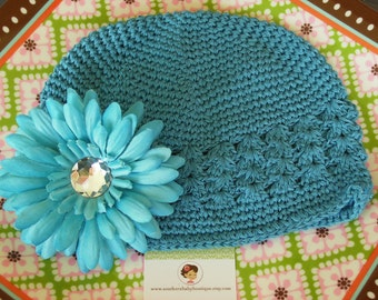 SUPER SALE---Boutique Girl Cap with Jeweled Daisy Clip----Turquoise---LIMITED Time Only