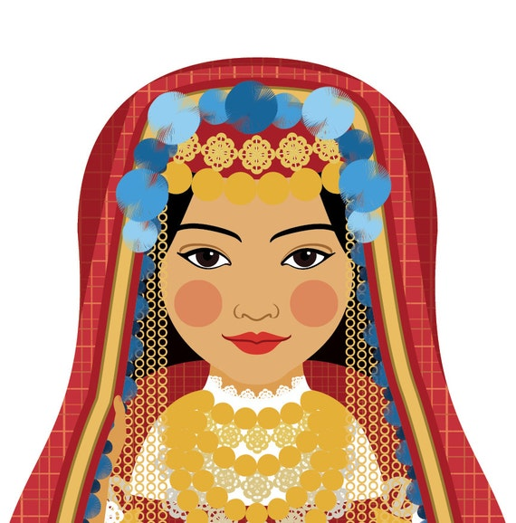 Tunisian Wall Art Print features cultural traditional dress drawn in a Russian matryoshka nesting doll shape
