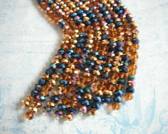 Exotic Faceted Multi Color Crystal Designer Glass Beads, Pack Of 2, 8 Inch Strands, 8x5mm. Beads.