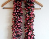Hand Knitted Fabric Ruffle Scarf