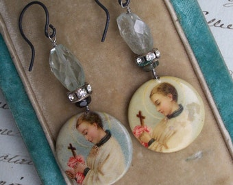 Saints Blessing - Vintage Assemblage Aquamarine Earrings