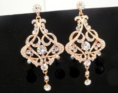 Rose gold crystal Bridal earrings, Rose gold rhinestone earrings, Wedding jewelry, Rose Gold Chandelier earrings, Art Deco earrings VICTORIA