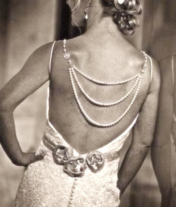 Items similar to bridal backdrop necklace wedding for Back necklace for wedding dress