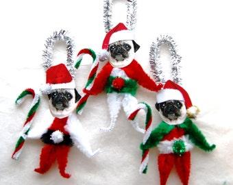 Pug Chenille Dog Christmas Ornaments, Pug,  Vintage Style (141)