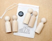 "Five 3"" Big Brother Dolls // Little Wooden People Fair Trade Natural Wooden Doll - Unpainted Blank Wooden Doll"