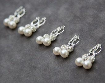 Pearl Bridesmaid Earrings Set of 8, Rhinestone Pearl Drop Earrings, Custom Wedding Color, Bridal Party Jewelry