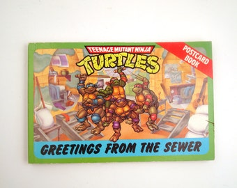 Teenage Mutant Ninja Turtles Postcard Book Vintage 1980s Greetings from the Sewer